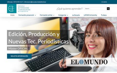Screenshot of Home Page escuelaunidadeditorial.es - Escuela de Periodismo y Comunicación de Unidad Editorial | Inicio - captured July 20, 2018