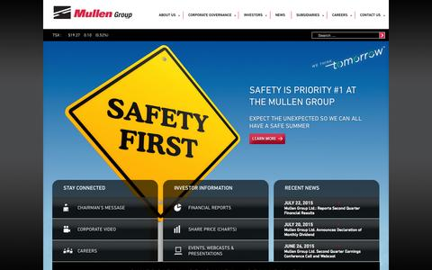 Screenshot of Home Page mullen-group.com - Mullen Group | - captured Aug. 12, 2015