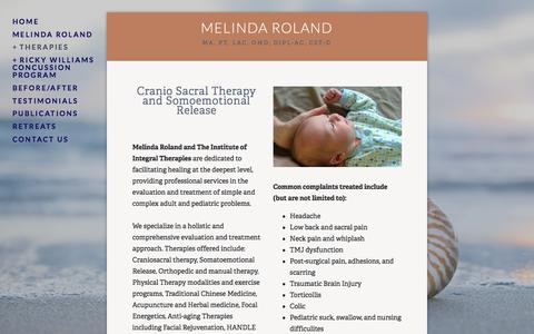 Screenshot of Menu Page integraltherapies.com - Cranio Sacral Therapy and Somatoemotional Release — Melinda Roland - captured Oct. 15, 2017