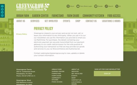 Screenshot of Privacy Page greensgrow.org - Privacy Policy | Greensgrow : Greensgrow - captured Sept. 30, 2018