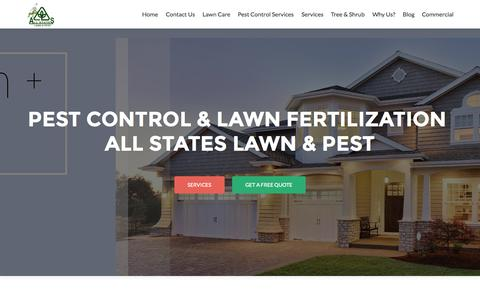 Screenshot of Home Page thegreenpest.com - Pest Control and Lawn Fertilization | All States Lawn & Pest - captured Sept. 10, 2015