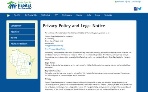 Screenshot of Terms Page huterra.com - Privacy Policy and Legal Notice | Greater Green Bay Habitat for Humanity - captured Sept. 16, 2014