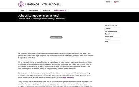 Screenshot of Jobs Page languageinternational.com - Language International - captured July 16, 2018