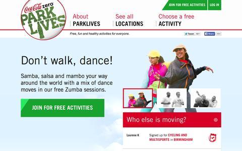 Screenshot of Home Page parklives.com - Coca-Cola Zero ParkLives - Free Outdoor Activities - captured Sept. 23, 2014