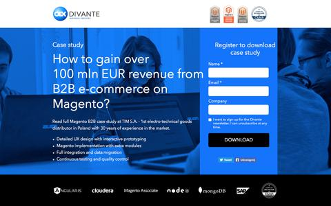 Screenshot of Landing Page divante.co - Magento B2B case study - over 100 mln EUR revenue from an on-line sale in TIM S.A. - captured April 14, 2018