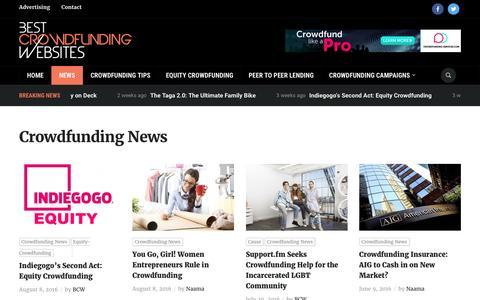 Screenshot of Press Page best-crowdfunding-websites.com - Crowdfunding News Archives - Best Crowdfunding Websites - captured Aug. 26, 2016