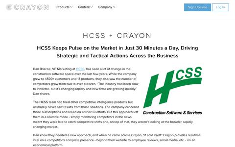 Screenshot of Case Studies Page crayon.co - HCSS Keeps Pulse on the Market in Just 30 Minutes a Day - captured April 21, 2018