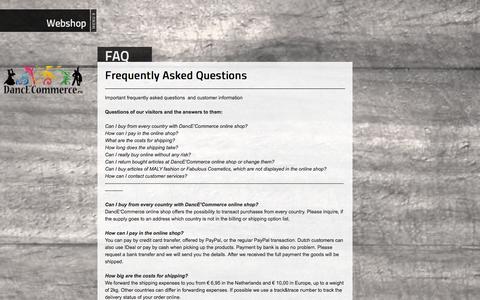 Screenshot of FAQ Page dance-commerce.eu - Webshop DancE'Commerce :: FAQ - captured Sept. 30, 2014