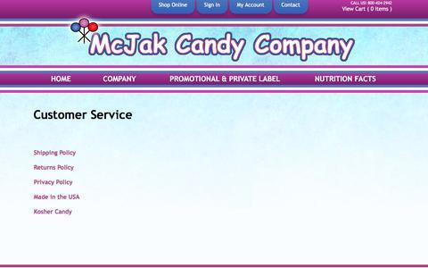 Screenshot of Support Page mcjakcandy.com - Customer Service - captured Feb. 12, 2016