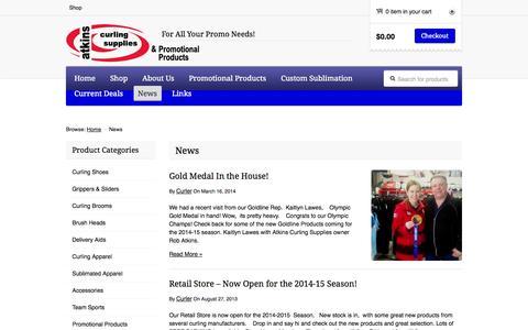 Screenshot of Press Page atkinscurling.com - News | Atkins Curling Supplies & Promotional Products - captured Nov. 3, 2014