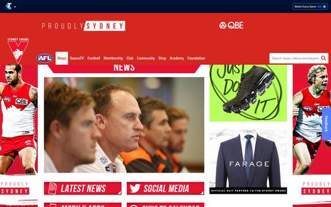 Screenshot of Press Page sydneyswans.com.au - News & Media - sydneyswans.com.au - captured Sept. 23, 2018