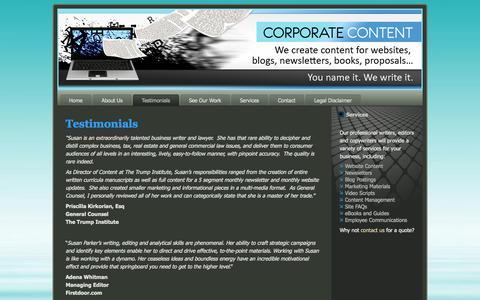Screenshot of Testimonials Page corporatecontent.com - Testimonials | We create content for websites, blogs, newsletters, books, proposals... - captured Oct. 3, 2014
