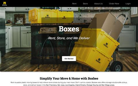 Screenshot of Home Page boxbee.com - California Moving Boxes, Moving Supplies, & Personal Storage | Boxbee - captured Aug. 18, 2019