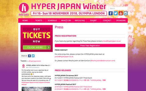 Screenshot of Press Page hyperjapan.co.uk - Press   HYPER JAPAN - captured Sept. 23, 2018