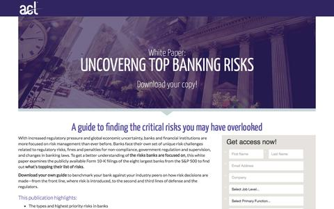 Screenshot of Landing Page acl.com - Download Uncovering Top Banking Risks - captured March 4, 2018