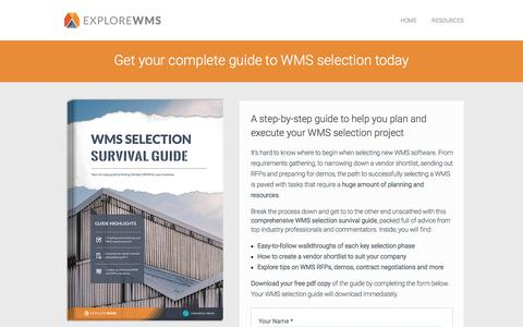 Screenshot of Landing Page explorewms.com - WMS selection survival guide - exclusive guide from Explore WMS - captured April 9, 2018