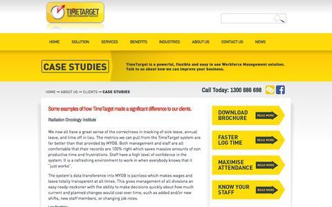 Screenshot of Case Studies Page timetarget.com - Case Studies  |  TIMETARGET | WORKFORCE MANAGEMENT MADE EASY - captured Sept. 30, 2014