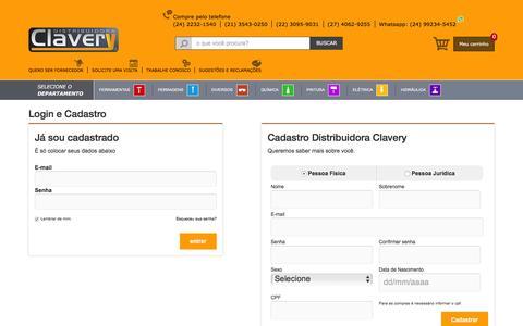 Screenshot of Login Page distribuidoraclavery.com.br - Distribuidora Clavery - captured Aug. 2, 2016