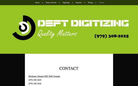 Screenshot of Contact Page wordpress.com - Contact | Deft Digitizing - captured Aug. 1, 2016