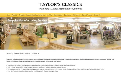 Screenshot of Services Page taylorsclassics.com - Taylor's Classics Bespoke Manufacturing Service - captured July 4, 2015