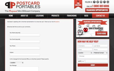 Screenshot of Contact Page postcardportables.com - Postcard Portables | Contact Us - captured Jan. 30, 2016
