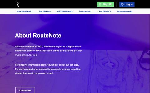 Screenshot of About Page routenote.com - About RouteNote | RouteNote: Sell Your Music Online - Digital Music Distribution - Promotion - Publishing - captured July 16, 2019