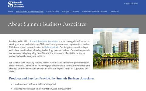 Screenshot of About Page summitbiz.net - About Summit Business Associates | Richmond, VA - captured Oct. 24, 2017
