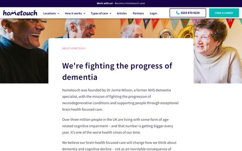 Screenshot of About Page myhometouch.com - Learn more about Hometouch | Dementia Live-in Care - captured Nov. 19, 2019