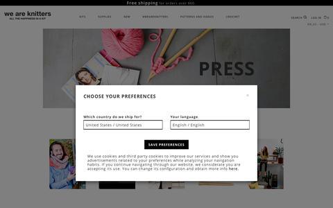 Screenshot of Press Page weareknitters.com - Wool Fashion News & Photos - captured July 23, 2019