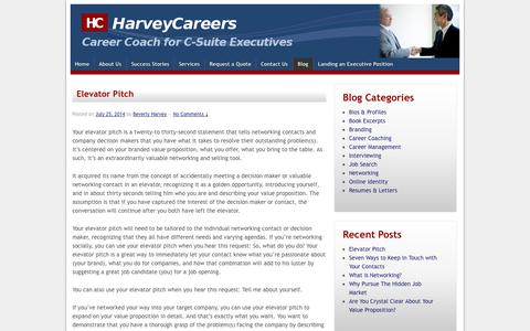 Screenshot of Blog harveycareers.com - Tips on executive job search, resumes, branding, interviewing and career management | Harvey Careers - captured Oct. 2, 2014