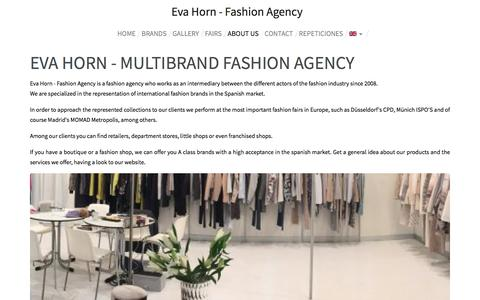 Screenshot of About Page efts.es - About us | Eva Horn - Fashion Agency - captured Aug. 29, 2017
