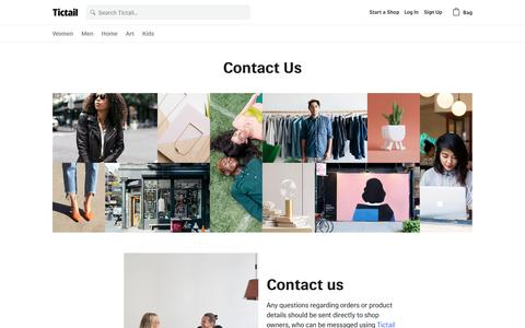 Screenshot of Contact Page tictail.com - Tictail - Buy and sell clothes, jewelry, art, fashion, and home decor products • Tictail - captured April 8, 2017