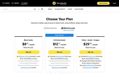 Screenshot of Signup Page Pricing Page audioblocks.com - Stock Audio Plans and Pricing - Storyblocks Audio - captured Nov. 7, 2018
