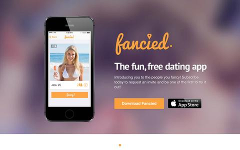 Screenshot of Home Page getfancied.com - Fancied - The Fun & Free Dating App! - captured Oct. 6, 2014