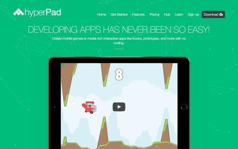 Screenshot of Home Page hyperpad.com - hyperPad - captured July 29, 2016