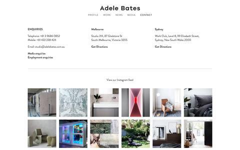 Screenshot of Contact Page adelebates.com.au - CONTACT — Adele Bates . Interior Design Melbourne - captured Oct. 7, 2017