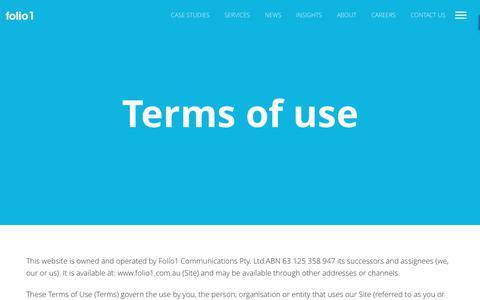Screenshot of Terms Page folio1.com.au - Terms of use   folio1 - captured June 6, 2017