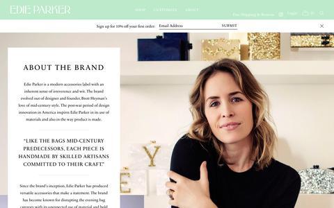 Screenshot of About Page edie-parker.com - Authentic Designer Handbags & Clutches | Edie Parker - captured Sept. 23, 2018