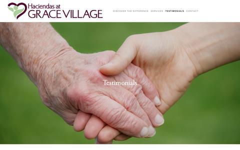 Screenshot of Testimonials Page gracevillagelc.com - Testimonials — Haciendas at Grace Village - captured Oct. 17, 2016