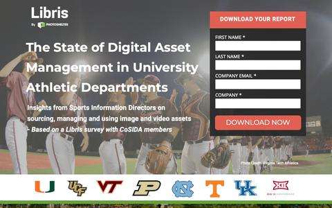 Screenshot of Landing Page photoshelter.com - Libris | The State of Digital Asset Management in University Athletic Departments - captured March 13, 2019