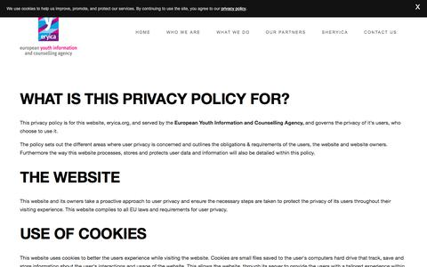 Screenshot of Privacy Page eryica.org - PRIVACY POLICY — ERYICA - The European Youth Information and Counselling Agency - captured Feb. 15, 2018