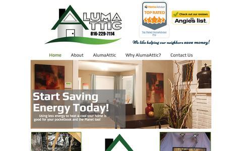 Screenshot of Home Page alumaattic.com - AlumaAttic, Save Energy and Money Today - captured July 25, 2016