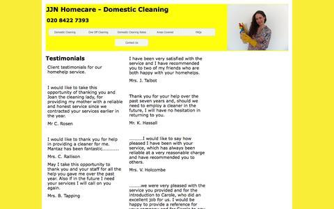 Screenshot of Testimonials Page jjn-homecare.co.uk - JJN Homecare - Domestic Cleaning - captured Aug. 2, 2015