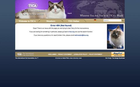 Screenshot of Blog 404 Page tica.org - Error 404 - captured Oct. 31, 2014