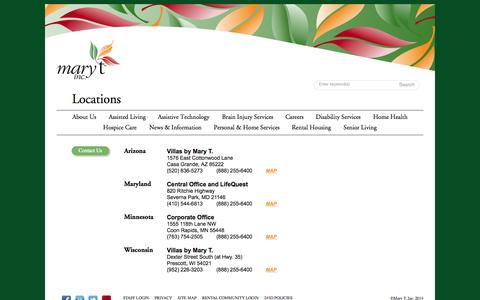 Screenshot of Locations Page marytinc.com - Assisted Senior Living in Coons Rapids MN | Mary T Inc. - captured Oct. 27, 2014