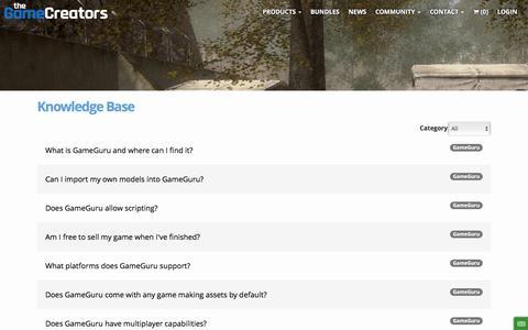 Screenshot of FAQ Page thegamecreators.com - Knowledge Base - TheGameCreators - captured May 9, 2017