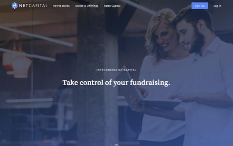 Screenshot of Home Page netcapital.com - Netcapital: Equity Crowdfunding - captured Nov. 29, 2016