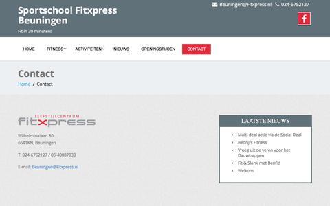 Screenshot of Contact Page fitxpressbeuningen.nl - Contact - Sportschool Fitxpress Beuningen - captured June 6, 2017