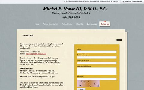 Screenshot of Contact Page housedmd.com - Decatur Dentist, Contact Us, Practice Information, GA - captured July 4, 2018
