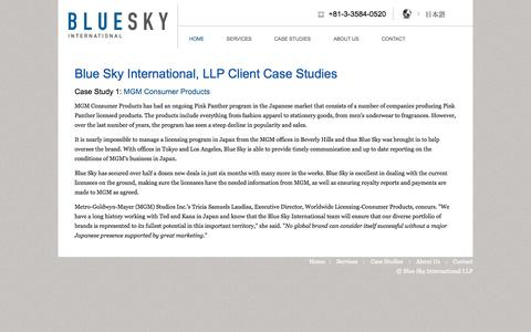Screenshot of Case Studies Page blueskyllp.com - Blue Sky International, LLP Client Case Studies | Blue Sky LLP - captured Oct. 5, 2014